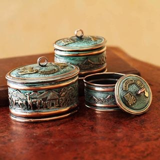 Set of 3 Handcrafted Bronze Copper 'Andean Life' Boxes (Peru)
