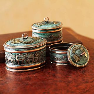 Set of 3 Handmade Bronze Copper 'Andean Life' Boxes (Peru)