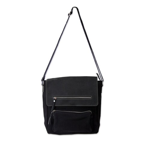 Handmade Leather Cotton 'Black Pockets Aplenty' Messenger Bag (India)