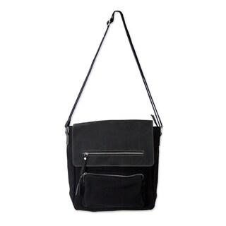 "Handmade Leather Cotton 'Black Pockets Aplenty' Messenger Bag (India) - 12.25""x13.75"""