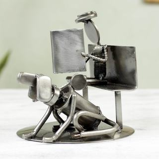 Handcrafted Auto Part 'Rustic Friends' Sculpture (Mexico)