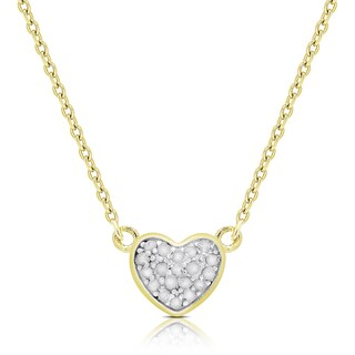 Finesque Gold Over Silver Diamond Accent Heart Necklace