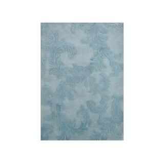 Alliyah Handmade Blue Floral New Zealand Wool Blend Rug (5' x 8')