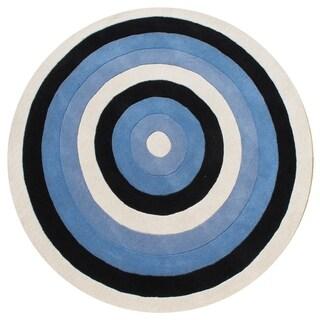 Alliyah Handmade Blue New Zealand Wool Blend Rug (6' Round)