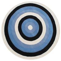 Alliyah Handmade Blue New Zealand Wool Blend Rug - 6'