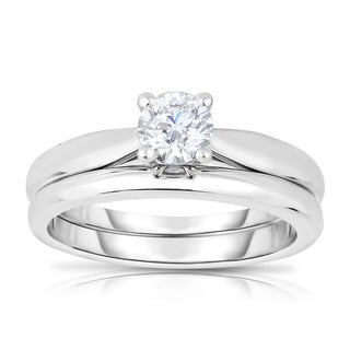 Eloquence 14k White Gold 1/2ct TDW Solitaire Diamond Wedding Set - White H-I