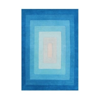 Alliyah Handmade Blue Gradient New Zealand Wool Blend Rug (5' x 8')