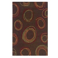 Linon Trio Collection Chocolate & Rust Rug (5' x 7')