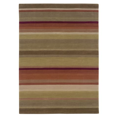 Hand Tufted Trio Collection Stripe Green & Rust Polyester Rug