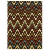 Linon Trio Collection Brown & Multi Rug (5' x 7')