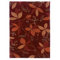 Linon Trio Collection Garnet & Orange Rug (5' x 7')