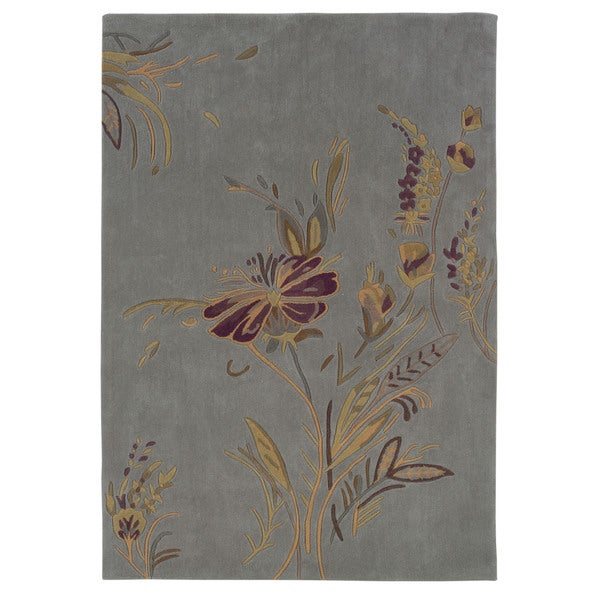 Linon Trio Collection Plate Blue & Gold Rug (5' x 7')