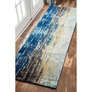 Oliver & James Serra Abstract Blue Vintage Runner Rug - 2'8 x 8'