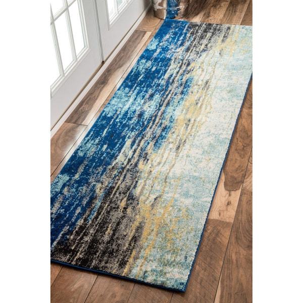 Nuloom Modern Abstract Vintage Blue Runner Rug 2 8 X 8