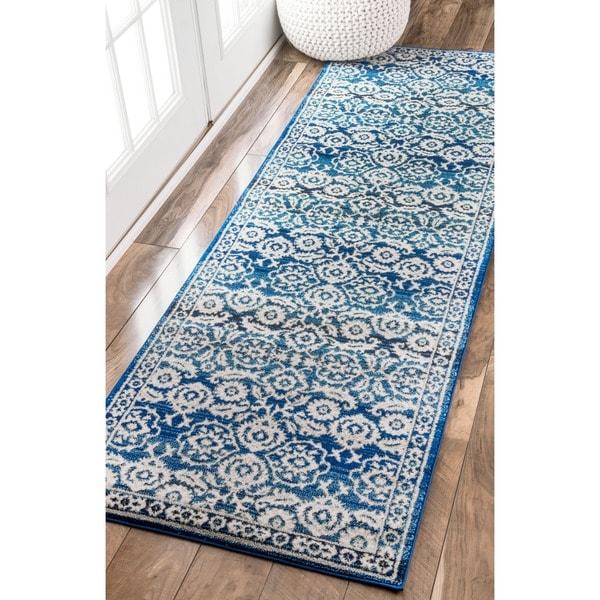 Nuloom Traditional Persian Vintage Dark Blue Runner Rug 2