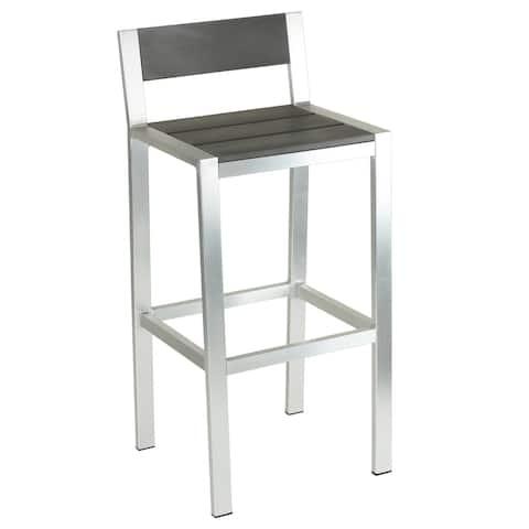 Knotts Brushed Nickel Aluminum Slate Grey Outdoor Barstool by Havenside Home