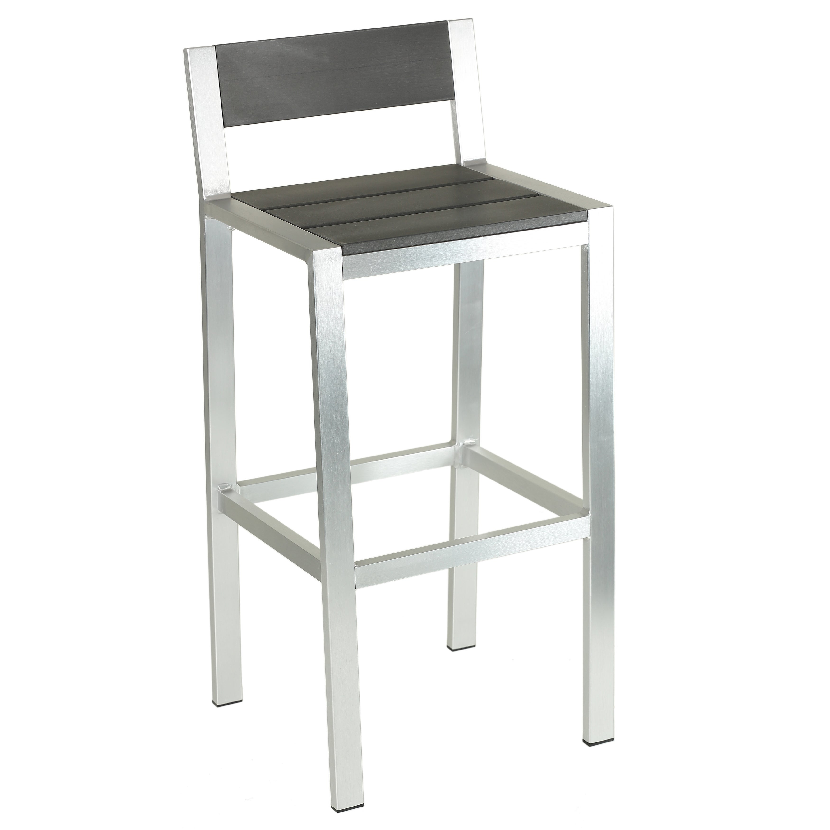 Cortesi Home Haven Brushed Nickel Aluminum Outdoor Bar Stool In Slate Grey  Polywood