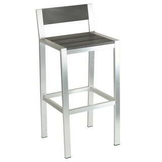 Cortesi Home Haven Brushed Nickel Aluminum Outdoor Bar Stool in Slate Grey