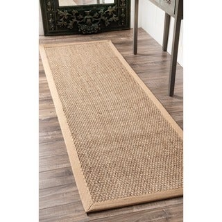 nuLOOM Handmade Natural Fiber Cotton Border Seagrass Runner Rug (2'6 x 8')
