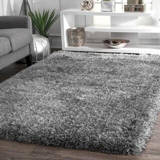 nuLOOM Handmade Soft and Plush Solid Grey Shag Rug (4' x 6') - 4' x 6'