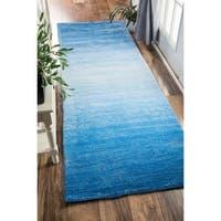Clay Alder Home Hillsboro Handmade Modern Solid Ombre Blue Runner