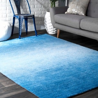 nuLOOM Handmade Modern Solid Ombre Blue Rug (4' x 6')