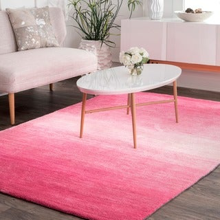 nuLOOM Handmade Modern Solid Ombre Pink Rug (4' x 6')