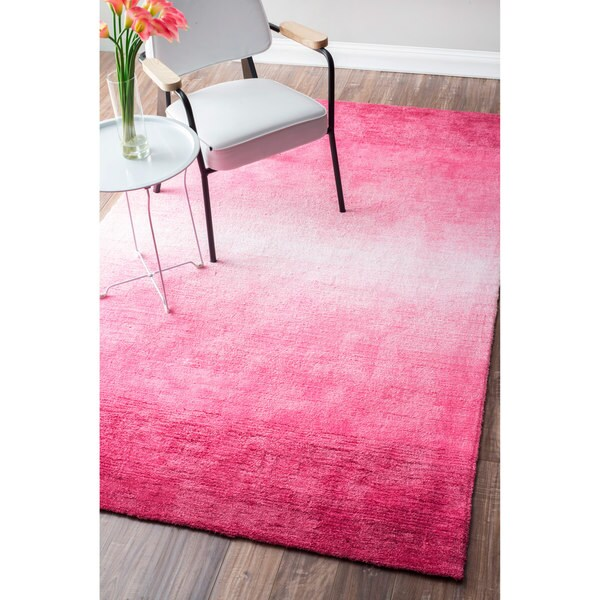 NuLOOM Handmade Modern Solid Ombre Pink Rug (4' X 6