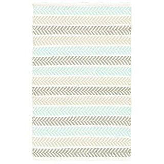 Altair Turquoise Rectangle Cotton Reversible Area Rug (8' x10')