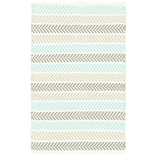Altair Turquoise Rectangle Cotton Reversible Area Rug (8' x 10') - 8' x10'