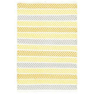 LR Home Hand Woven Altair Cotton Dhurry Yellow Cotton Rug - 8' x 10'