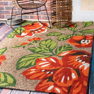 nuLOOM Handmade Modern Indoor/ Outdoor Tropical Floral Terracotta Porch Rug (5' x 8')