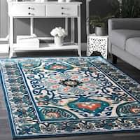 nuLOOM Modern Persian Printed Floral Blue Rug (9' x 12') - 9' x 12'