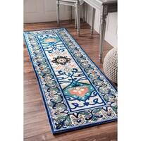 nuLOOM Modern Persian Printed Floral Blue Runner Rug - 2'6 x 8'