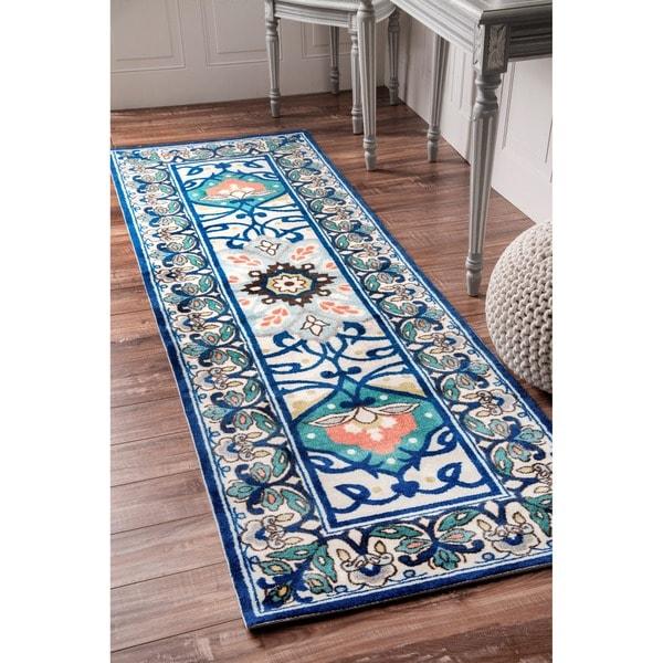 """nuLOOM Modern Persian Printed Floral Blue Runner Rug (2'6 x 8') - 2'6"""" x 8' runner"""