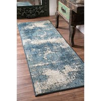 Maison Rouge Elaine Traditional Vintage Fancy Blue Runner Rug - 10' x 14'