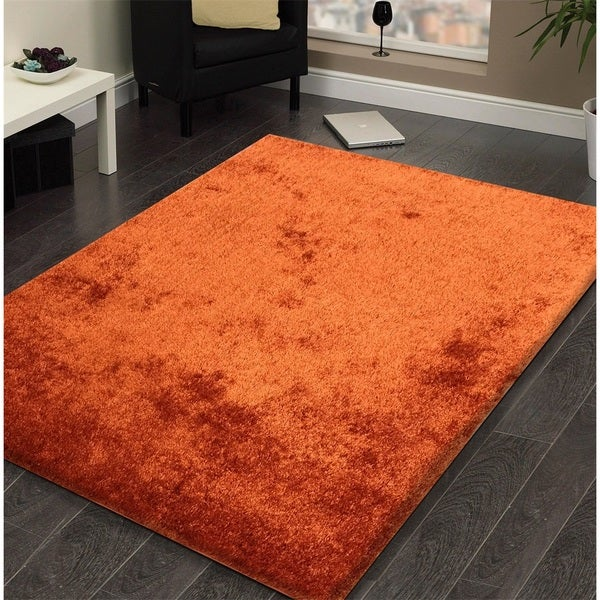 Shop Shag Solid Rust Area Rug 5 X 7 On Sale Free Shipping