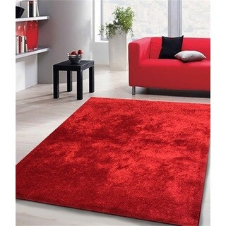 Shag Solid Red Area Rug (5' x 7')