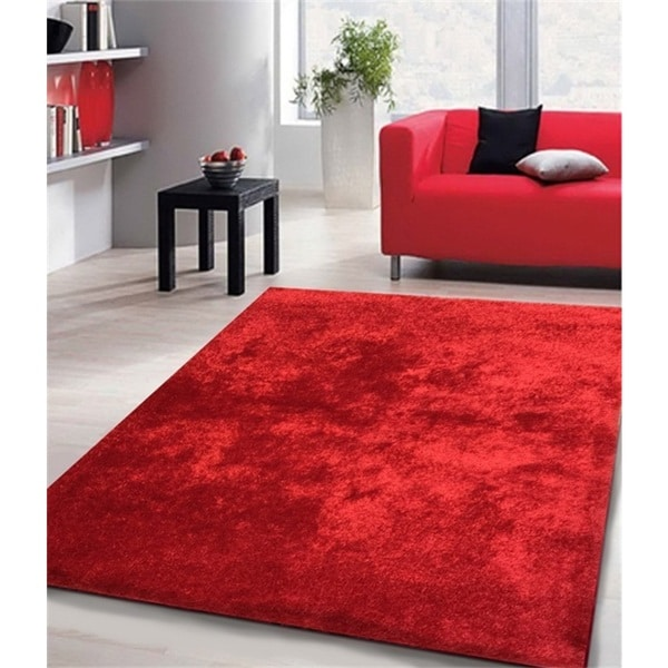 Shop Shag Solid Red Area Rug 5 X 7 On Sale Free