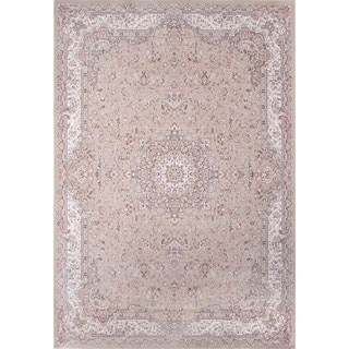 Machine Made Antiquity Floral Taupe Rayon from Bamboo Rug (3'11' x 5'7')