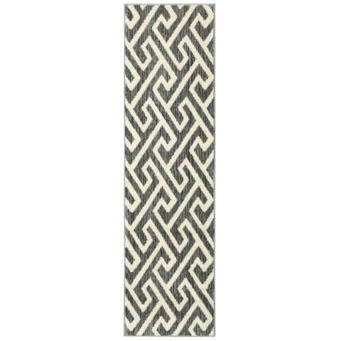 "LR Home Grace Modern Fret Gray Indoor Area Runner Rug ( 2'1"" x 7'5"" ) - 2'1 x 7'5"