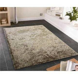Shag Solid Brown Beige Area Rug (5' x 7')