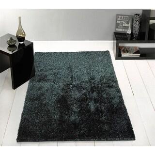 Shag Solid Black Silver Area Rug (5' x 7')