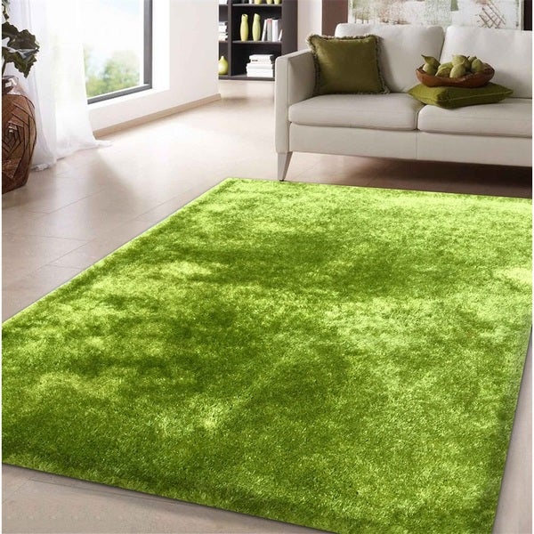 Shop Shag Solid Green Area Rug 5 X 7 Overstock