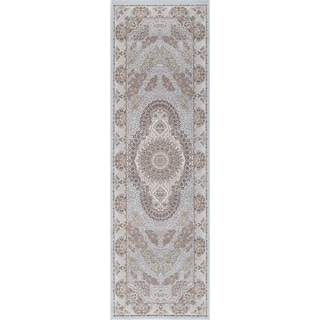 Antiquity Scallop Medallion Ivory Fine Area Rug (2'6' x 7'10)