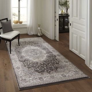 Machine Made Antiquity Center Medallion Charcoal Rayon from Bamboo Rug (3'11' x 5'7')
