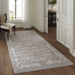 Machine Made Antiquity Floral Taupe Rayon from Bamboo Rug (6'7' x 9'10')
