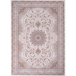 Machine Made Antiquity Elegant Medallion Ivory Rayon from Bamboo Rug (9'2' x 12'6')