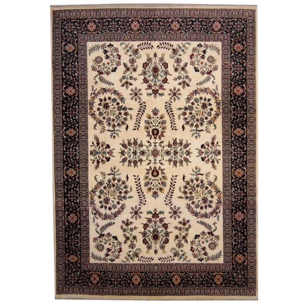 Handmade Herat Oriental Indo Sarouk Wool Rug - 8'4 x 12' (India)