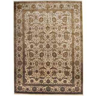 Herat Oriental Indo Hand-knotted Kashan Ivory/ Green Wool Rug (8'9 x 11'10)